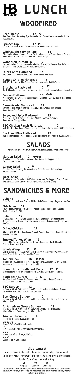 Lunch menu 2-22-18