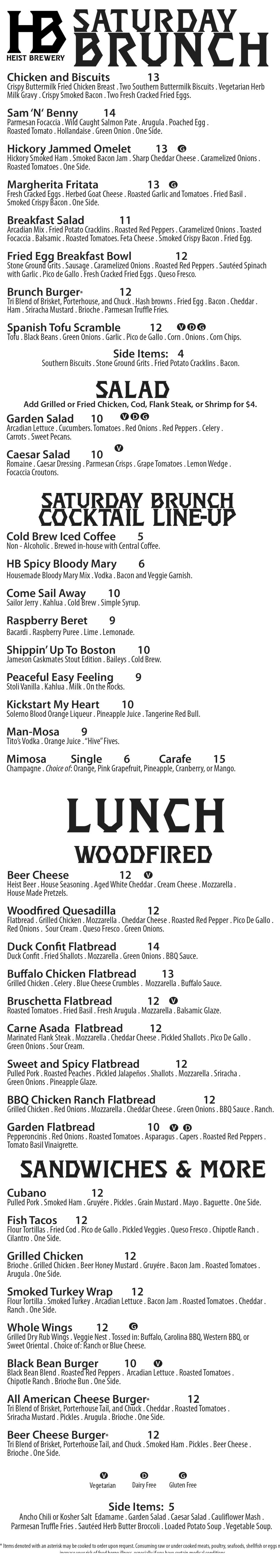 Sat Brunch menu 2-22-18