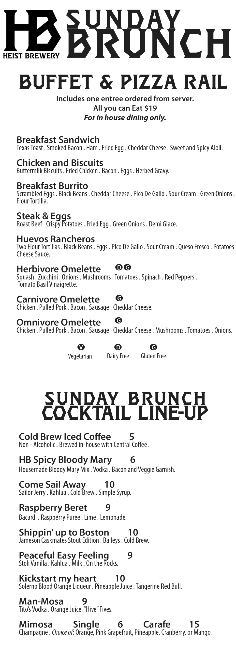 Sunday Brunch menu 2-22-18